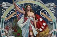 Banner painted in oil colours, showing a woman wearing loose flowing robes. She holds the red ensign and stands among native flowers.
