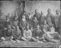 Photograph of a  group of Aboriginal men at Coranderrk Station.