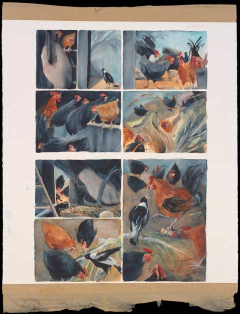 A painting, divided into seven panels, depicting chickens and a magpie feeding.