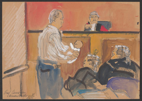 Drawing showing a courtroom scene with a man standing, in side profile, holding a small doll, with his hands wrapped around its back. The doll wears a long white bodysuit. A judge, wearing a wig and a red cape with black trim sits at the bench. Two laywers, wearing wigs and black robes sit to the right of the man holding the doll.