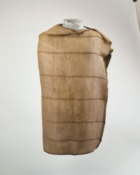 Hand-woven cloak made of flax, with six brown, stripes and brown, patterned edges on the long sides.