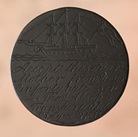 Circular token inscribed with an image of a three masted sailing ship and the words 'Accept this dear Mother from your unforunate son - Thos Alsop - Transported July 25, Aged 21, 1833'