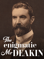 A graphic featuring a bearded, middle-aged man. The words at the bottom of the image spell 'The enigmatic Mr Deakin'.