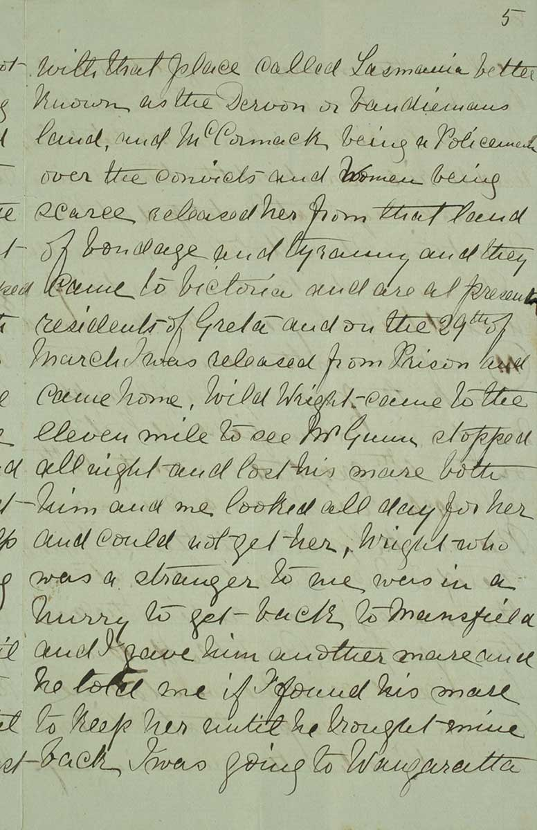 Page five of Ned Kelly's Jerilderie letter. - click to view larger image