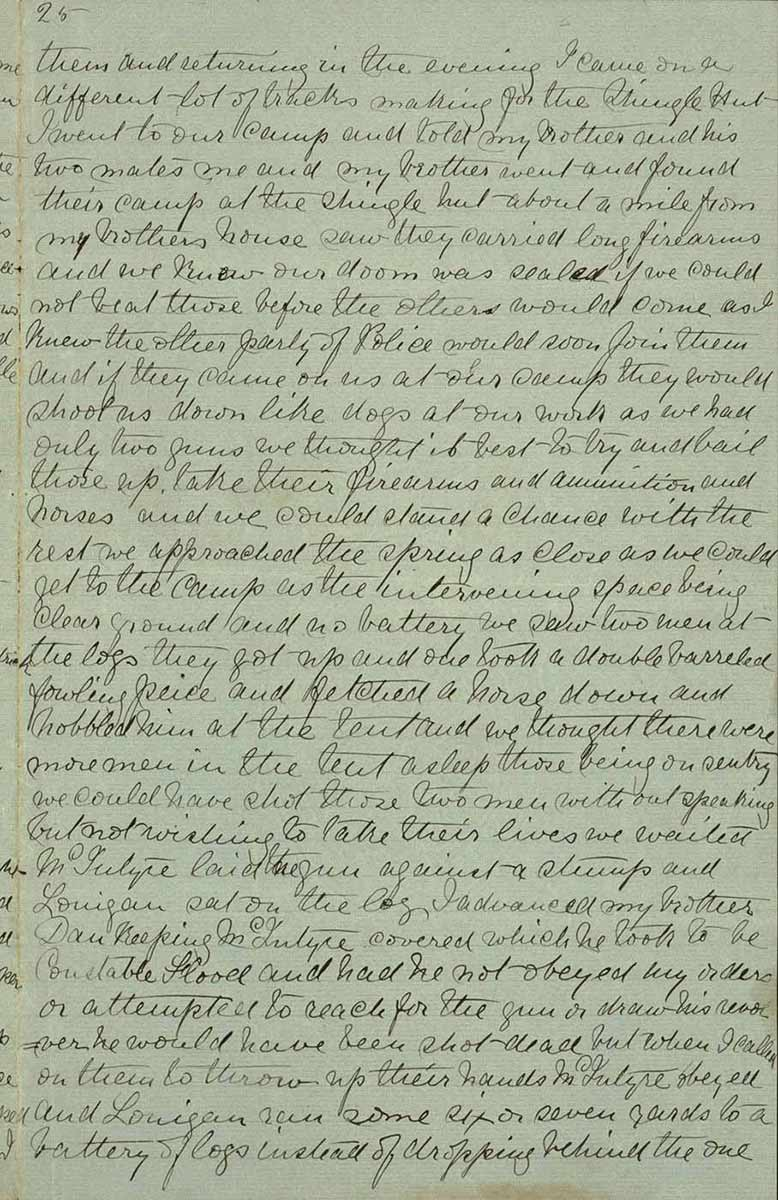 Page twenty five of Ned Kelly's Jerilderie letter. - click to view larger image