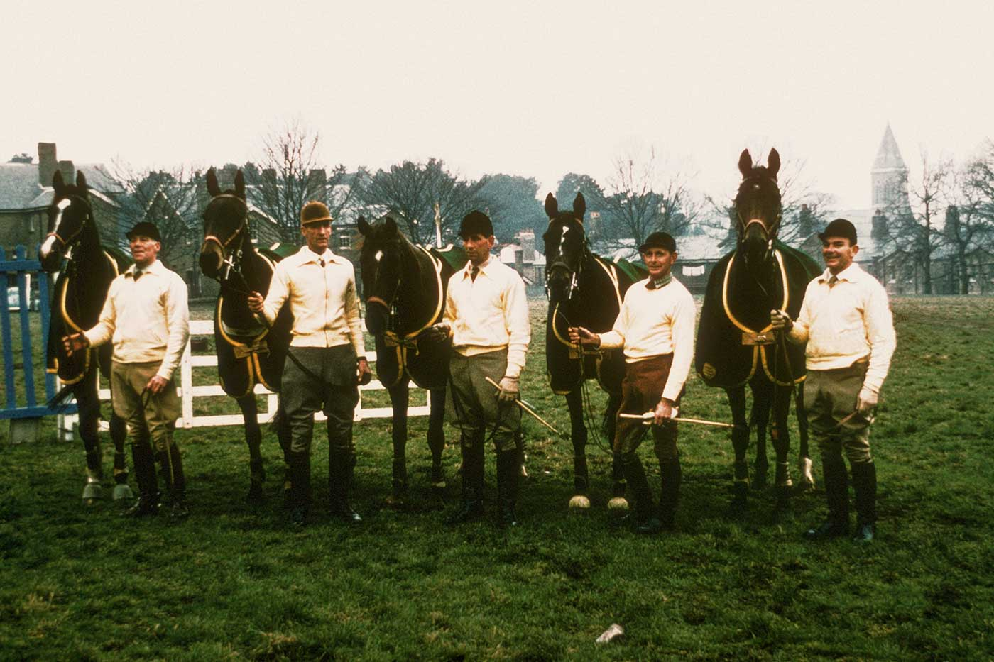 Australian Olympic three-day event team (from left) Laurie Morgan and Salad Days, Bill Roycroft  and Sabre, John Kelly and Pioneer, Brian Crago and Toscanella and Neale Lavis and Mirrabooka, at Aldershot, England, 1960. - click to view larger image