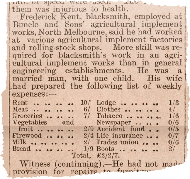 Newspaper clipping reporting on Justice Higgins' questioning of workers and housewives on how much it cost them to live.