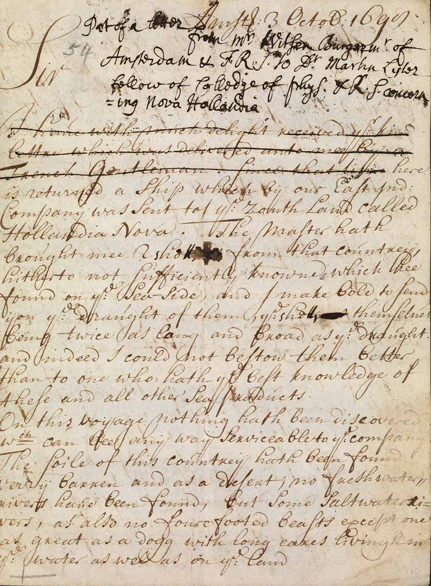 Letter from Nicolaas Witsen to Dr Martin Lystor  - click to view larger image