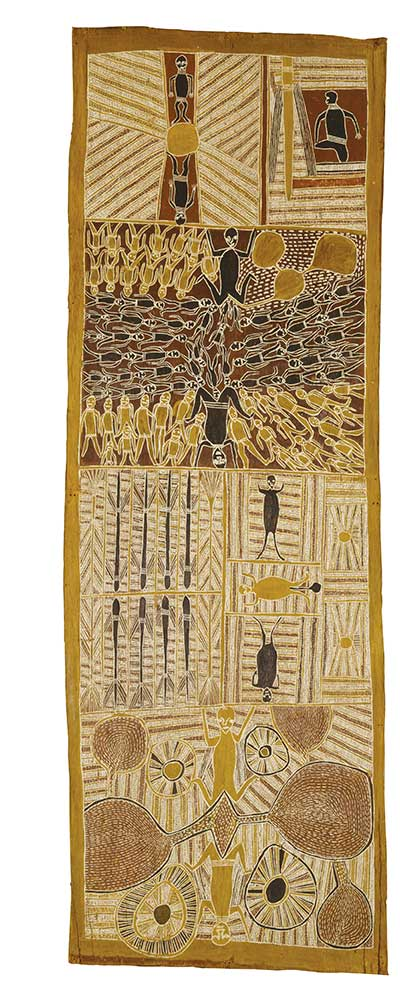 An Australian Indigenous painting on bark. The bark is arranged in portrait format ie the vertical sides are longer than the horizontal sides. The painting is divided into four main areas. Each area is filled with traditional patterns and representations of animals and humans. The colours in the painting are earth tones ie reds, browns, yellows and ochres.