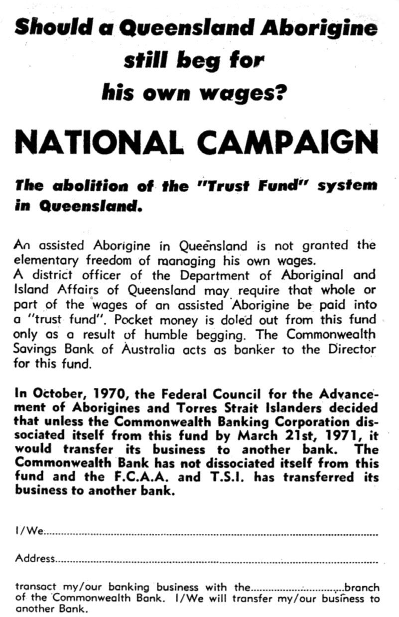 National Campaign document with the title: 'Should a Queensland Aborigine still beg for his own wages?' - click to view larger image