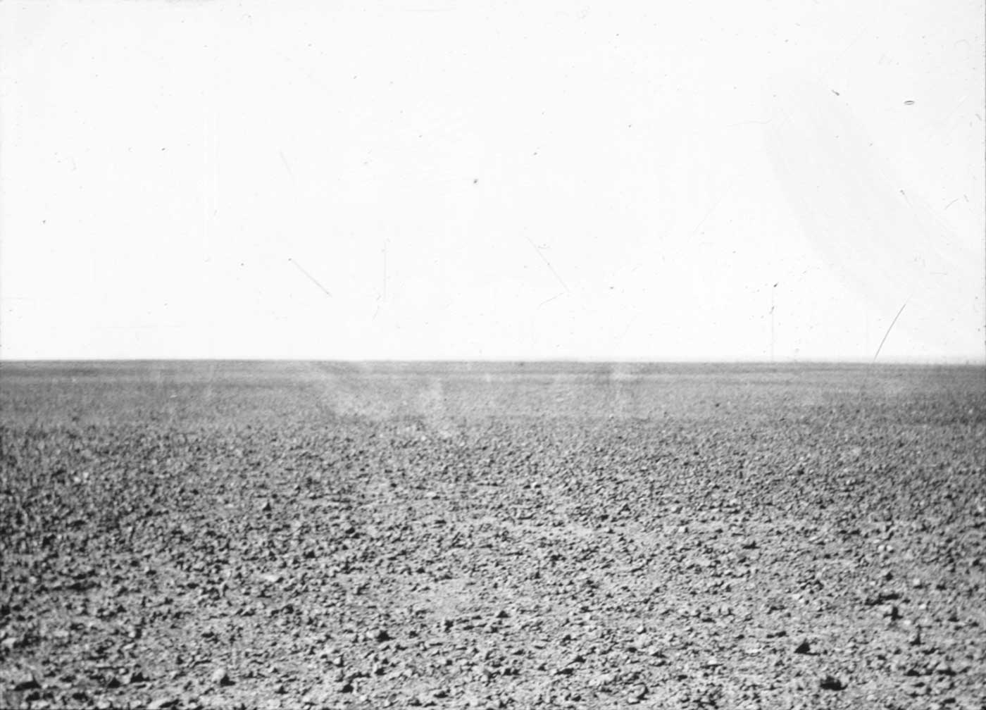 A black and white landscape photograph showing a flat desert scene, extending to a cloudless horizon.