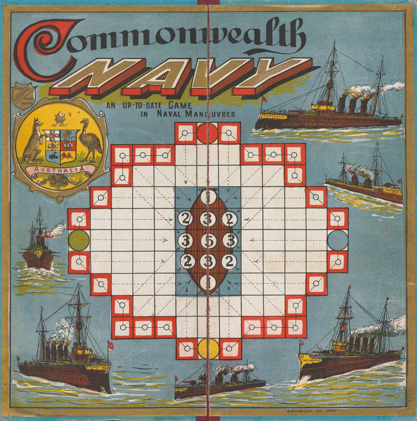 Square board game with a series of squares surrounding a boat. The Australian coat of arms is in the top left corner. Various illustrations of ships surround the game squares. - click to view larger image