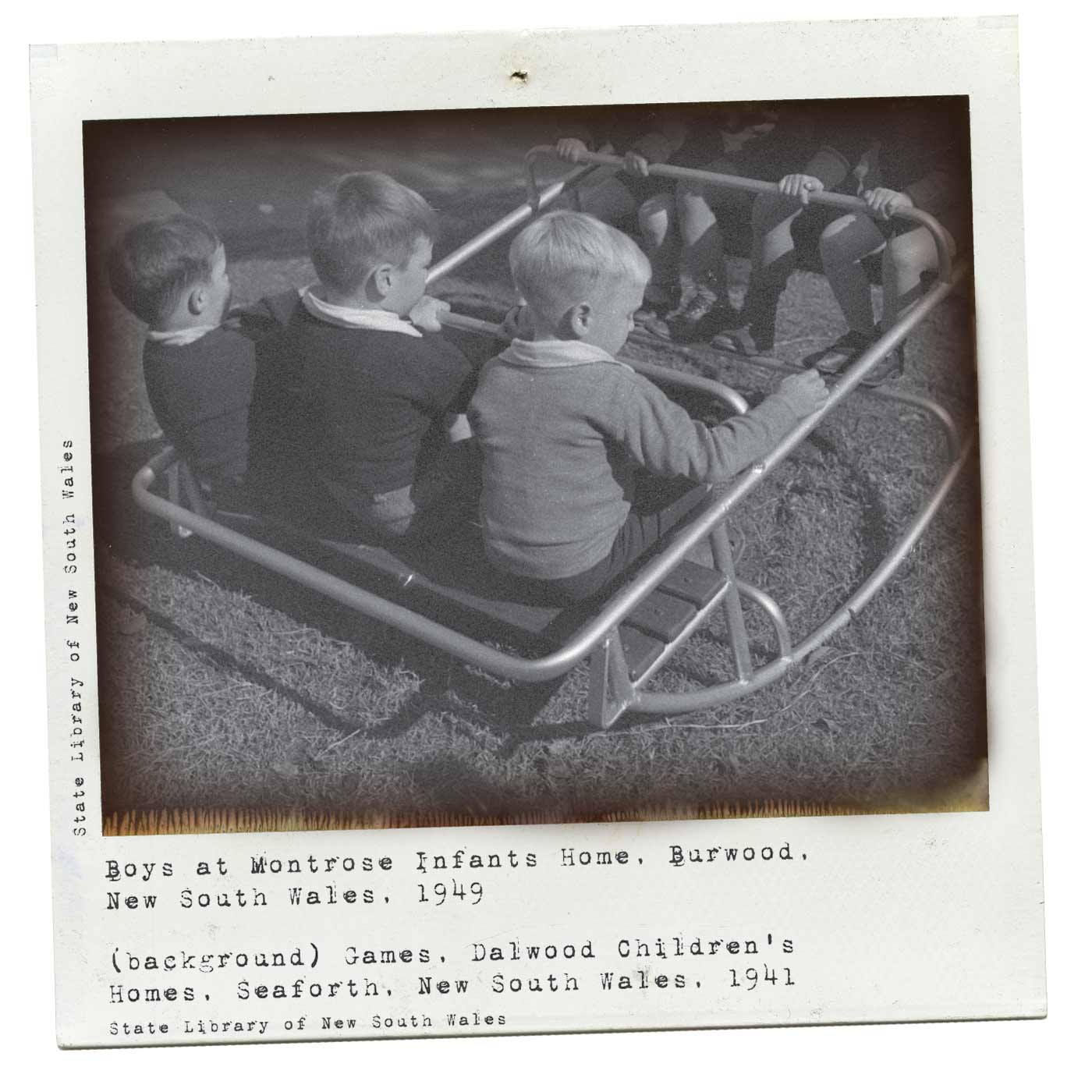 Polaroid photograph showing a group of young boys laying on a rocker. Typewritten text underneath reads 'Boys at Montrose Infants Home, Burwood, New South Wales, 1949'. 'State Library of New South Wales' is written along the left side. - click to view larger image