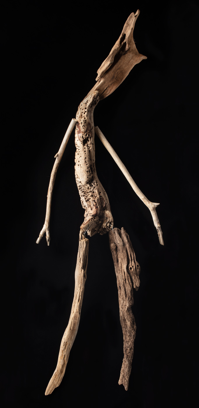 A figurative artwork made from driftwood and wire. - click to view larger image