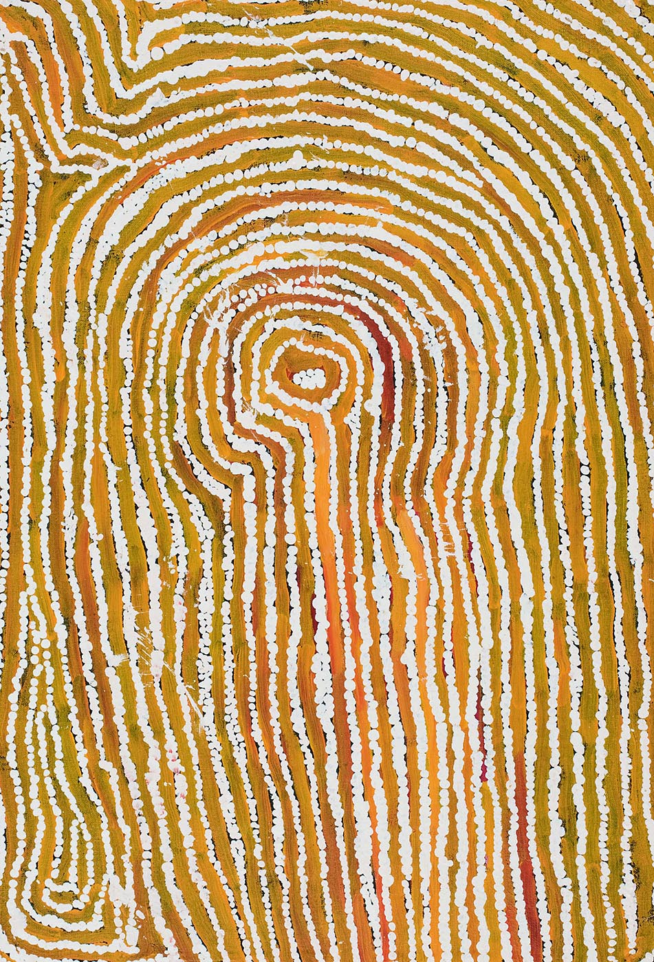 A rectangular painting on brown linen with yellow-brown multiple lines in an upside down U shape divided by white dotted lines. In the centre is a circle with white dots while to the left side the lines change direction. - click to view larger image