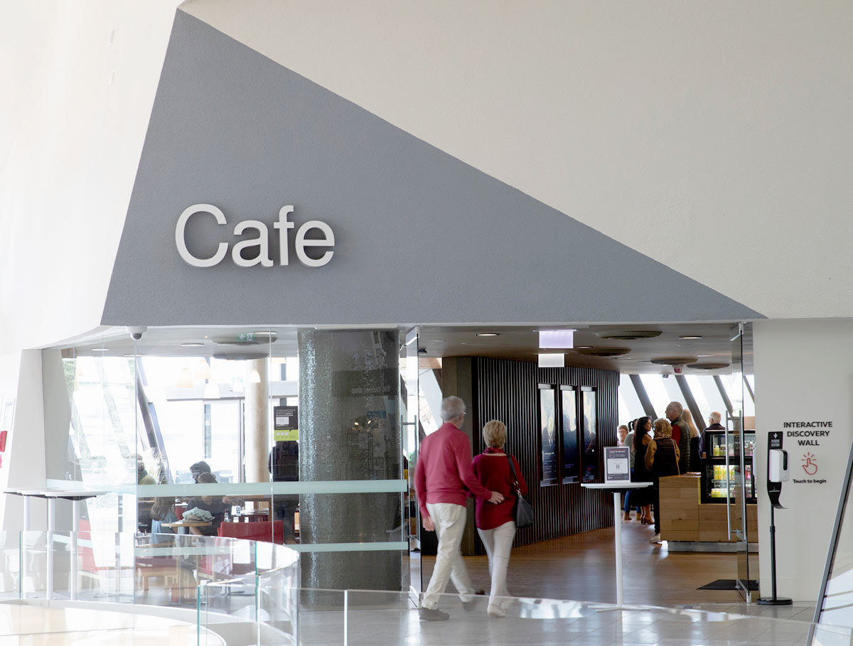 Entrance to a cafe through a large foyer. - click to view larger image