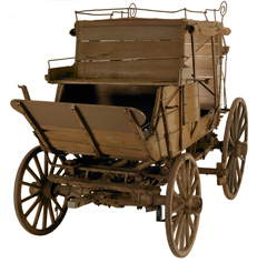Wooden, four-wheeled mail coach with front box seat.