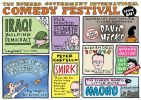 Cartoon in style of promotional poster for 'The Howard Government International Comedy Festival' with acts including Nick Minchin, Climate Sceptic and Peter Costello's Smirk.
