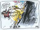 Cartoon of John Howard, Peter Costello and the Australian dollar riding on the back of China as it climbs up a mountain of wealth, following the United States.