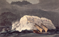 Illustration of a Chinese junk in a storm.