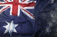 Detail of a damaged Australian flag