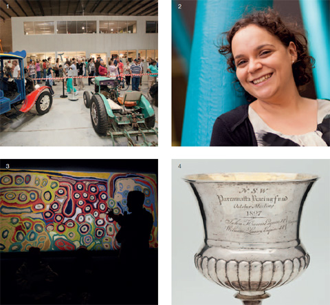 A compile of four roughly square-shaped photographs in a larger square. Top left, marked with a small '1', shows a crowd of people filing past two brighly painted vehicles at one of the Museum's storage and conservation areas. Top right, marked with a small '2' is a portrait of Indigenous cadet and Rhodes scholar Rebecca Richards. Bottom left, marked with a small '3' shows the silhouetted profile of a man standing to the right and gesturing with his hand towards a large, brightly-coloured painting from the 'Yiwarra Kuju' exhibition. Bottom right, marked with a small '4', shows the top section of a silver cup, engraved with the words 'NSW / Parramatta Racing Fund /October Meeting /1827'.