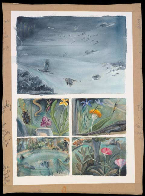 A painting divided into five panels. The top panel, in black and white, shows a farming landscape, with two birds flying in the foreground. The bottom four panels, in colour, show various plants and animals and a human form beside a waterhole.