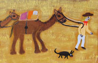 Warakurna history paintings - Camel Lady detail