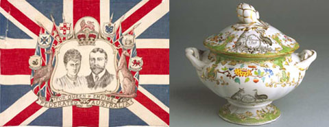 Image showing a flag on the left and a soup tureen on the right. The flag consists of a central black and white portrait sketch of the Duchess and Duke of York, surrounded by various state crests, an emu on the left and a kangaroo on the right and the words 'For Queen & Empire. Federated Australia' at the bottom. The backdrop is a red, white and blue union jack. The ceramic soup tureen has a white base and gold-rimmed lid and handles. It is decorated with elaborate imagery including flora and curlicules. A black and white kangaroo and emu appear either side of a stylised 'Union Club' coat of arms.