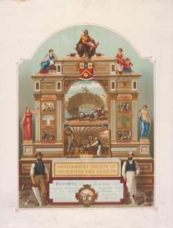 Coloured lithograph membership certificate showing various human figures sitting atop and beside a classically-inspired arch. Inside the arch are images of tradesmen at work beside a waterway and others inside a workshop. At the front of the arch stand a carpenter and joiner with various tools of the trade. 'AMALGAMATED SOCIETY OF CARPENTERS AND JOINERS' is printed above a text panel that certifies membership (text illegible).
