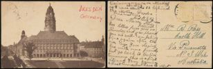 Postcard Ken Ross sent to his mother showing a large ornate city building