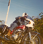 Wolfgang �Wally� Weber on the CB750 he rode in the funeral scene as seen in <em>STONE</em>. Image courtesy Jason Weber.
