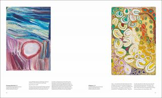 Songlines catalogue spread with images of 'Parnngurr Rock Hole' by Bugai Whyoulter and 'Minyipuru' by Jakayu Biljabu