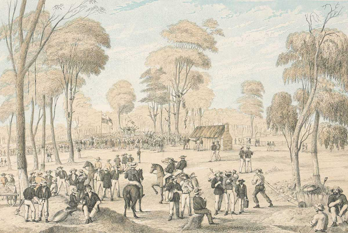 Illustration of a large group of men gathered in the foreground. Several ride horses and others carry or sit near tools. In the distance a much larger group of people has amassed under a flag.  - click to view larger image