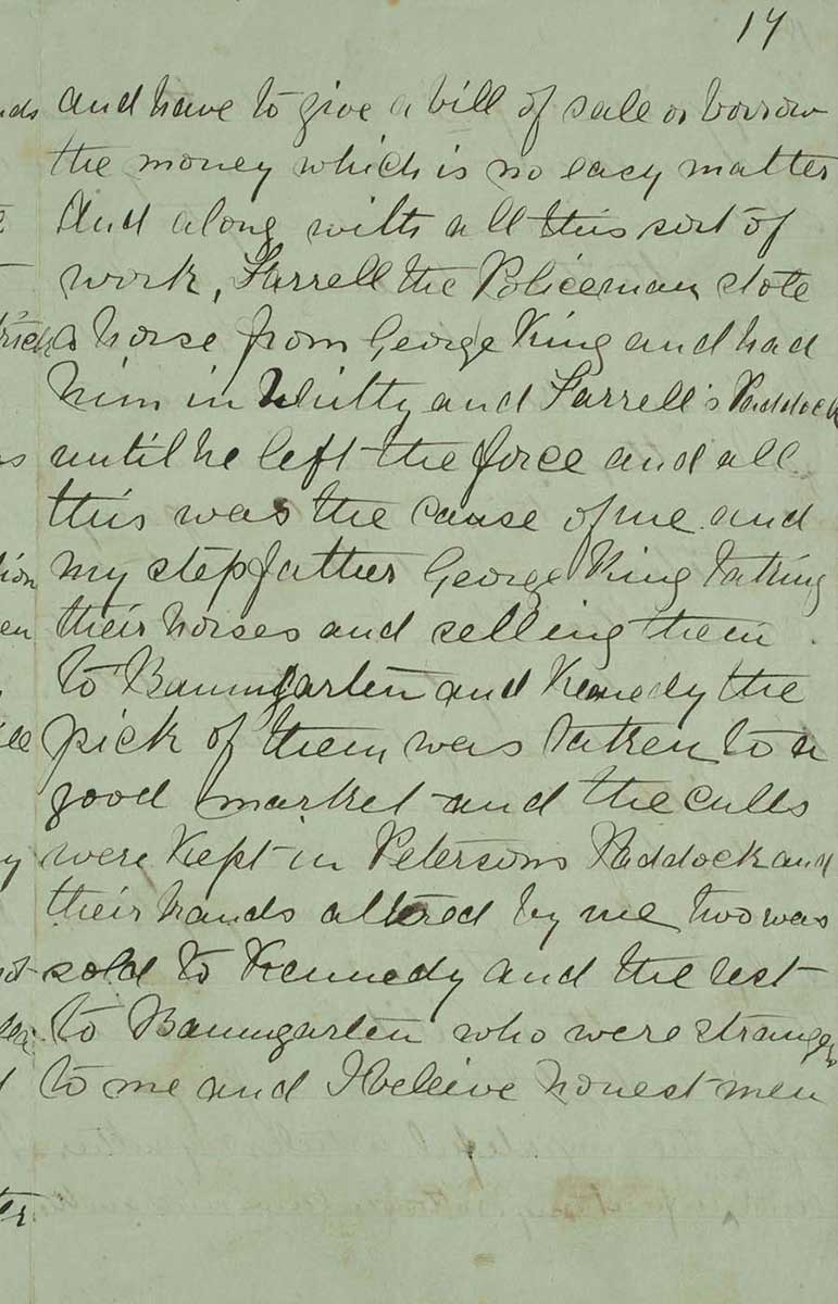 Page seventeen of Ned Kelly's Jerilderie letter. - click to view larger image