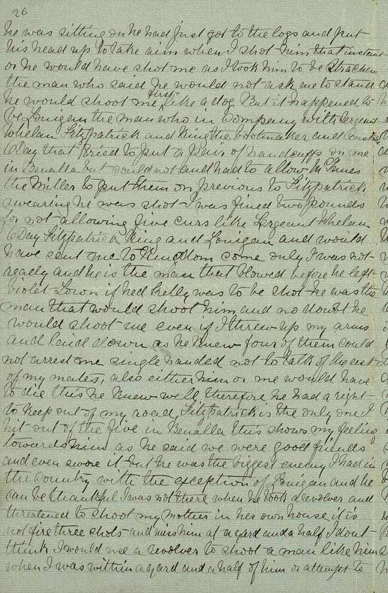 Page twenty six of Ned Kelly's Jerilderie letter. - click to view larger image