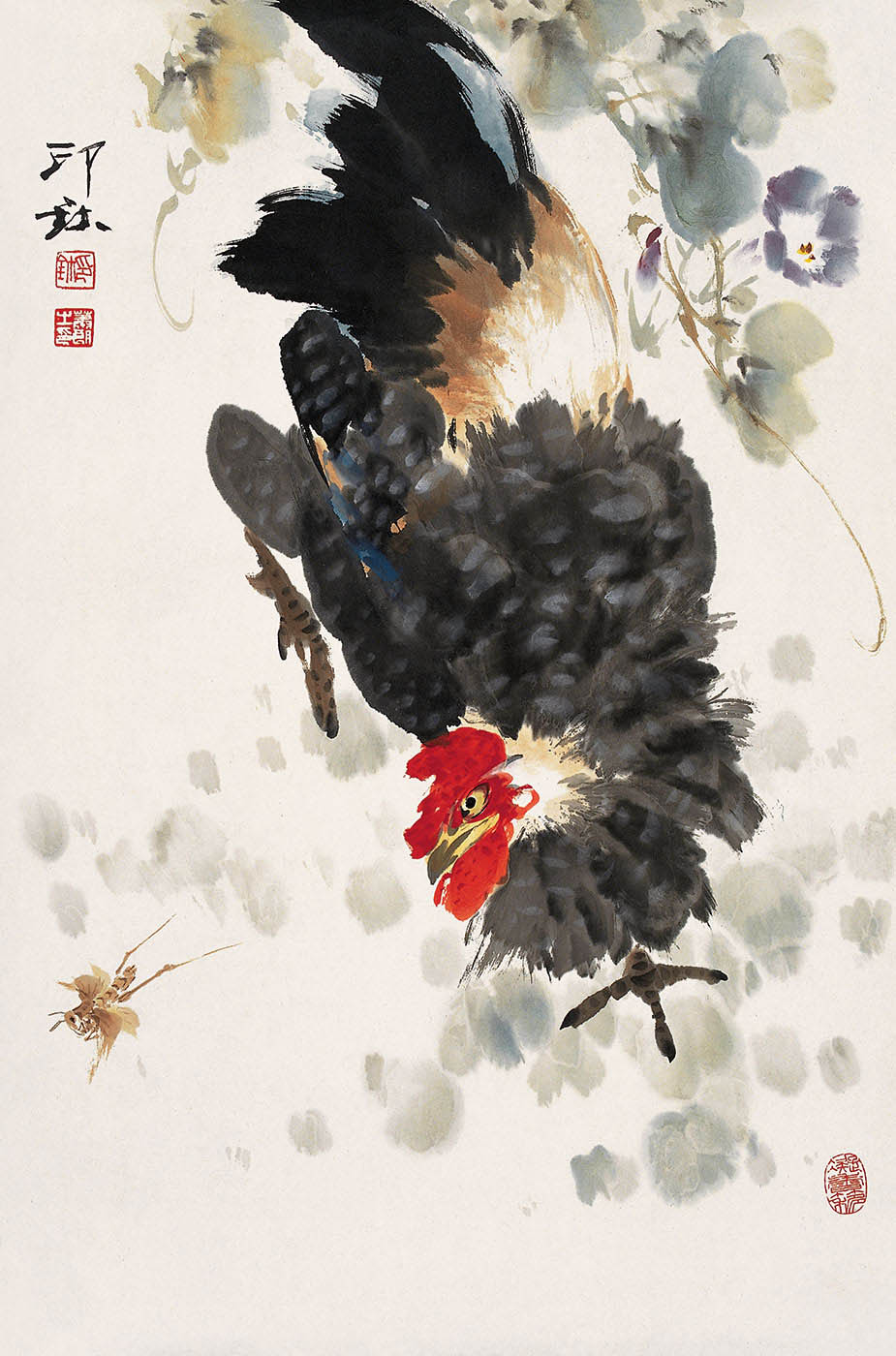 Chinese calligraphic painting of a chicken, in coloured inks. - click to view larger image