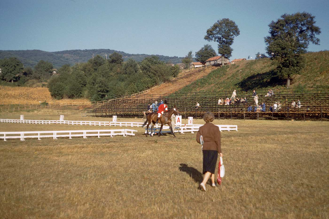 Neale and Mirrabooka, entering and leaving the dressage arena, Rome Olympics, 1960. - click to view larger image