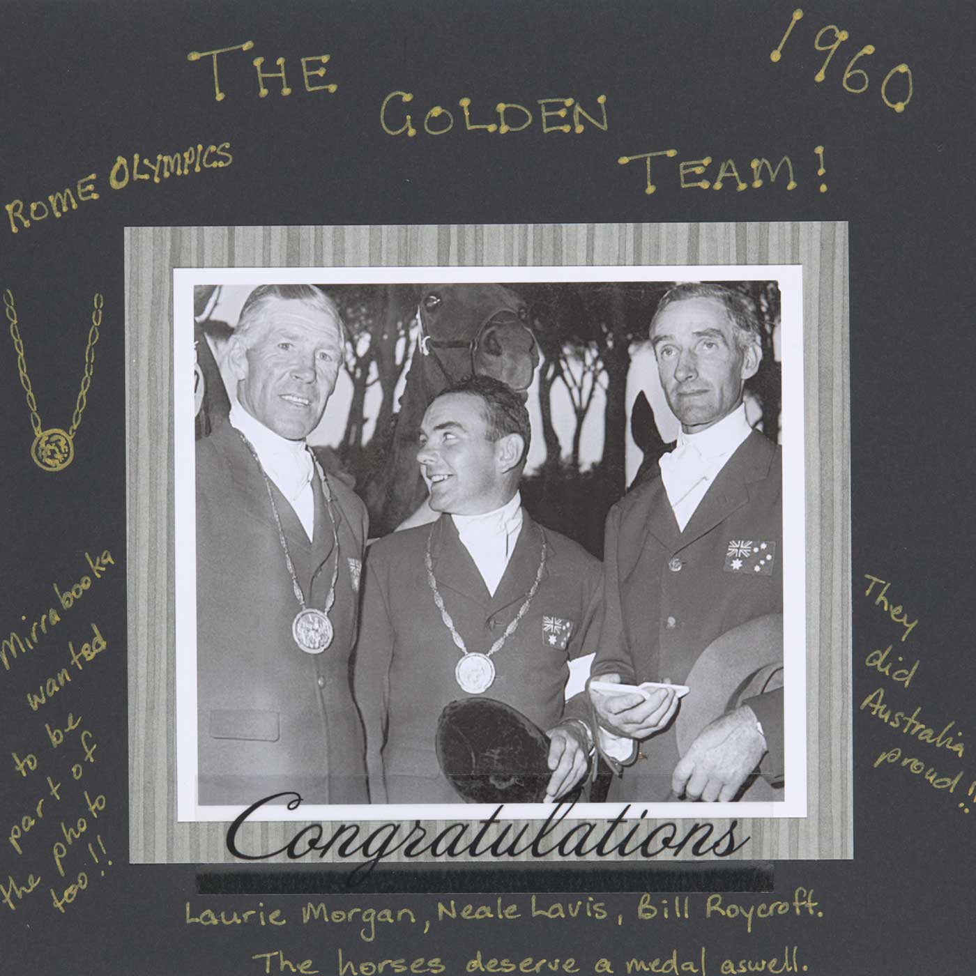 Page from a photo album titled 'The Golden Team' with an image of three men with medals. - click to view larger image