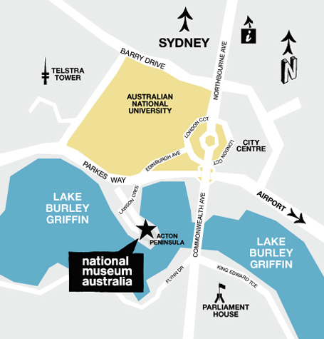 Map with directions to the National Museum of Australia
