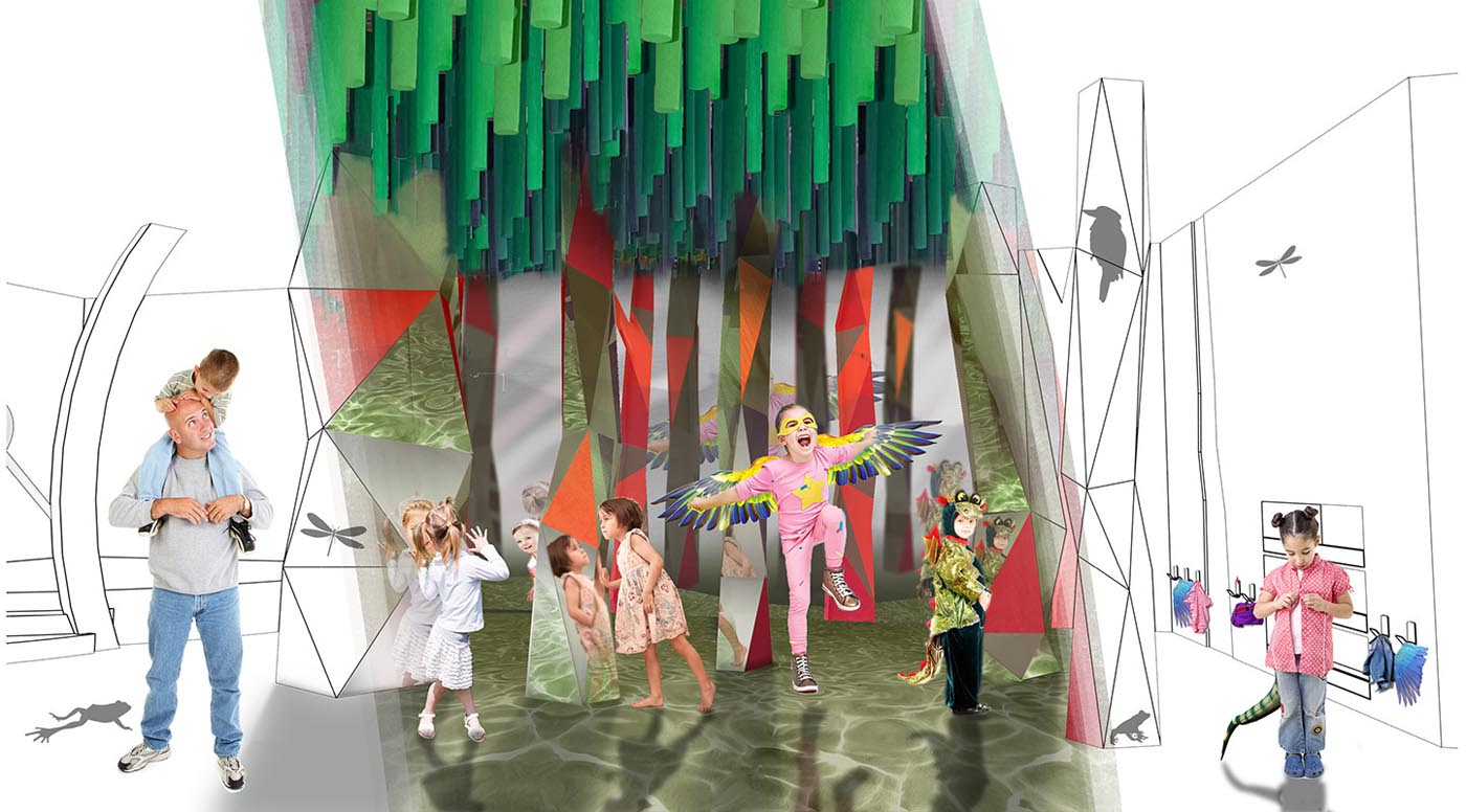 An artist's impression adults and children moving around inside an immersive play space.