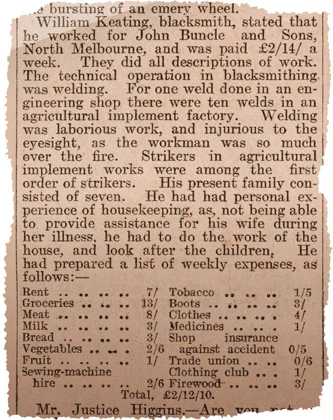 Newspaper clipping, reporting on Justice Higgins' questioning of workers and housewives on how much it cost them to live.