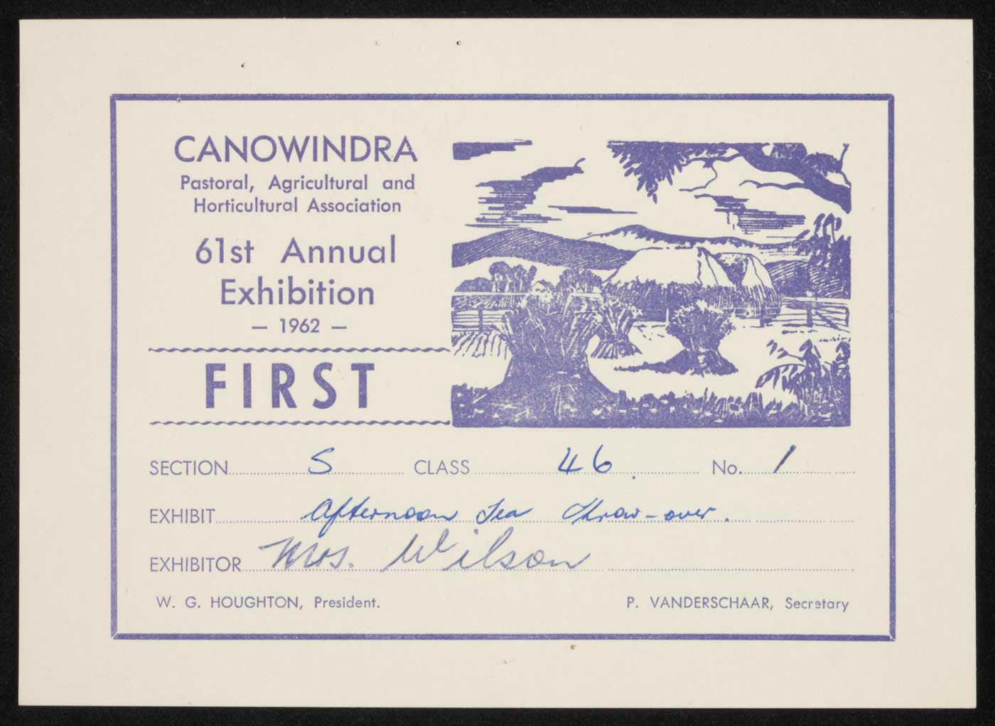 Canowindra show first prize certificate. - click to view larger image