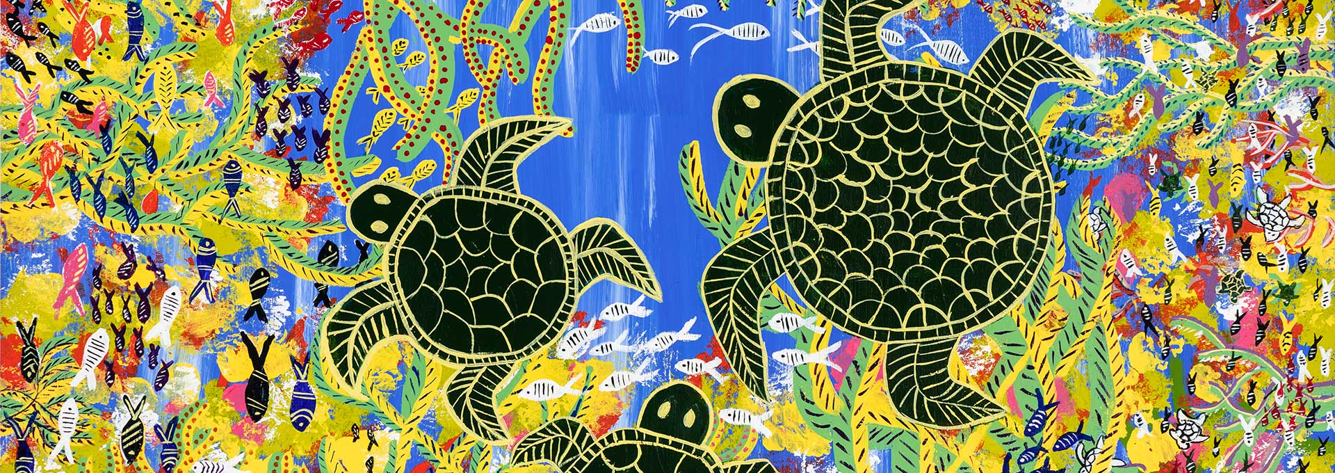 Luminous Reef by Esme Bowen, Hopevale Arts and Culture Centre (a colourful artwork of an ocean scene featuring turtles and other sea creatures and species).