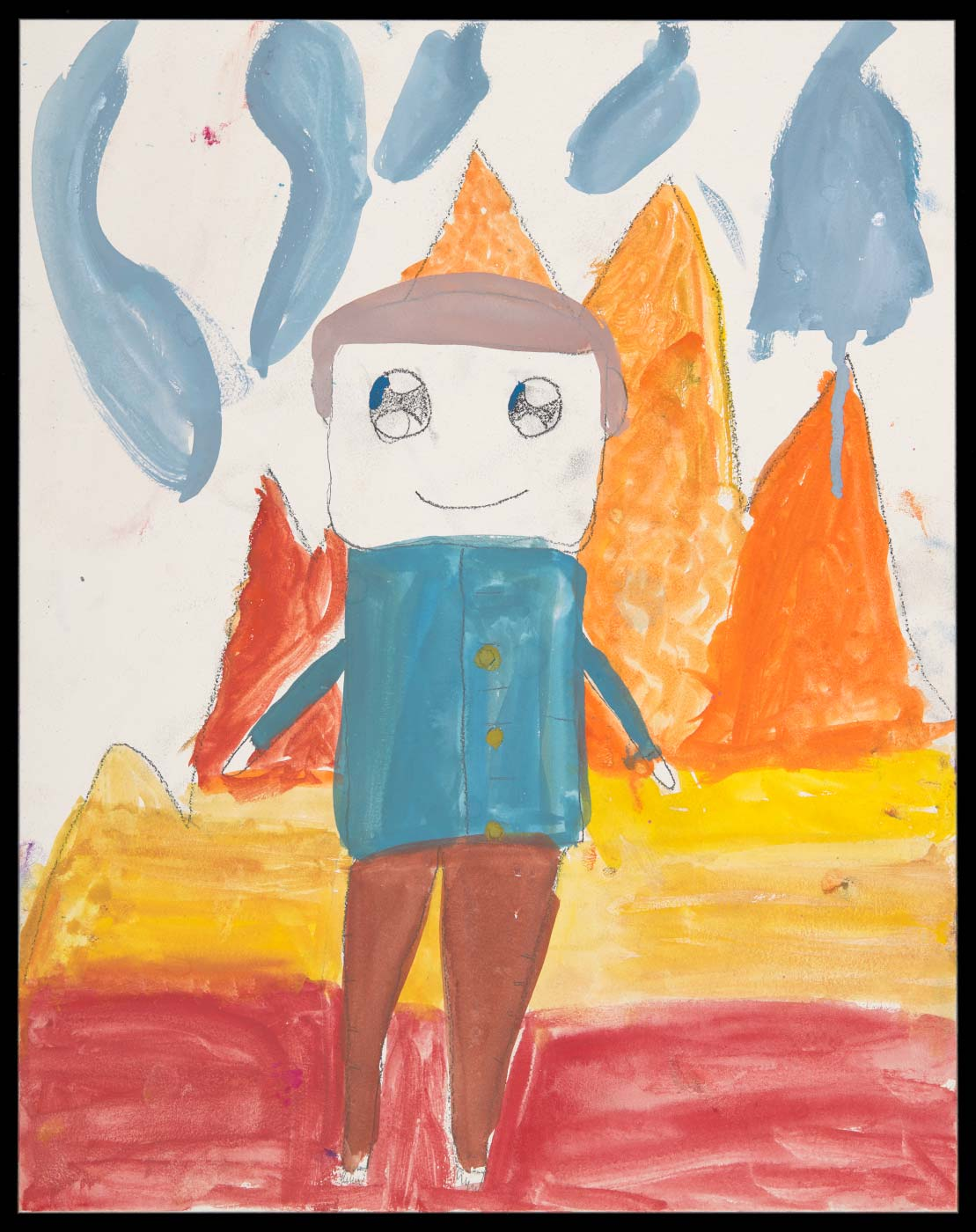 Painting on aquabord, depicting a figure with a bue shirt and brown trousers, standing on ground that is yellow and red, with orange peaks in the background and blue streaks in the sky. - click to view larger image