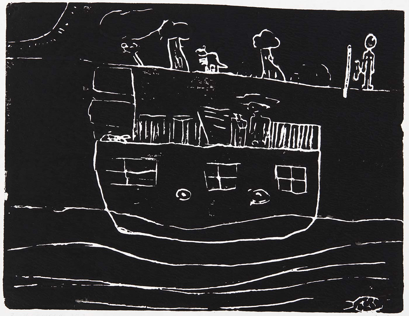 Print, black ink on white paper, depicting a boat on water in the foreground and the shoreline in the background. Annotated in pencil 'Blaine McLean 2/12/19'. - click to view larger image