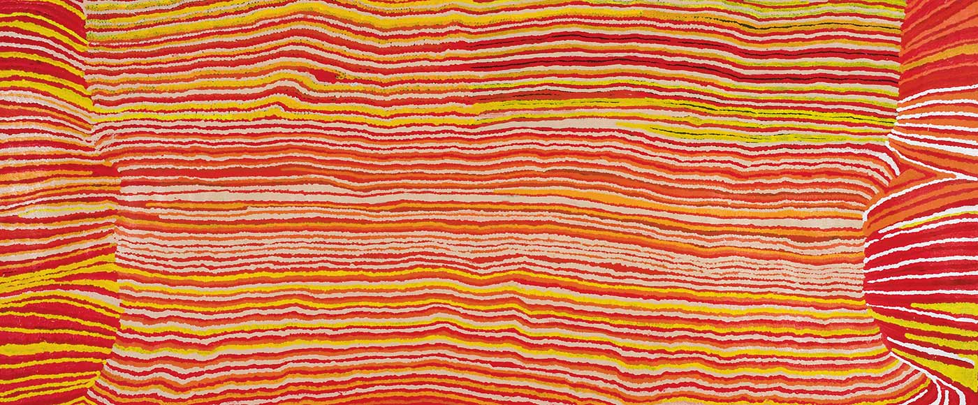 A long horizontally striped painting on canvas in red, orange, yellow white and beige wavy lines. At both ends are sections of horizontal stripes that are offset and at different angles from the central section. The right side has more white and dark red stripes while the left side has more yellow stripes. - click to view larger image
