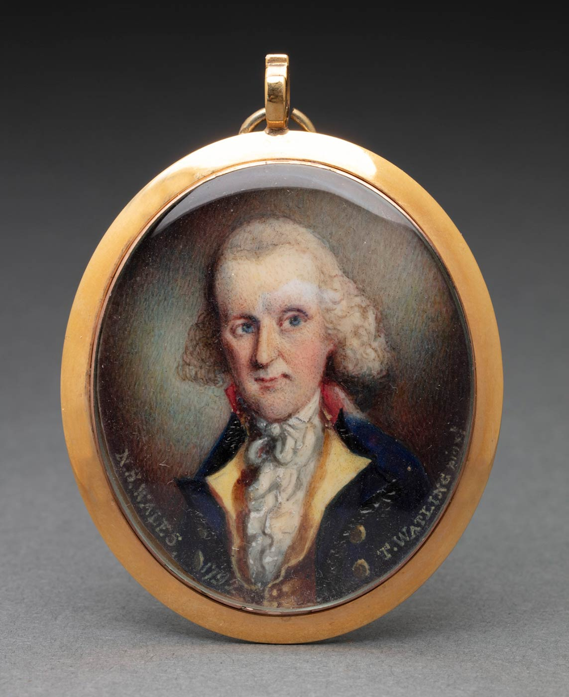 An oval painted portrait depicting a man with white hair wearing a blue coat over a gold vest and a white shirt. Written along the bottom edge is 'N.S. WALES 1792 T. WATLING [?]'. The portrait is mounted in a gold frame and covered in glass. There is a loop at the top of the frame attached to which is a ring. - click to view larger image