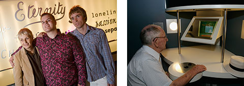 Image on left: Tim Sharp (centre), with his mother Judy and brother Sam in the Eternity gallery. Image on right: A visitor seated at a computer in the Eternity gallery.