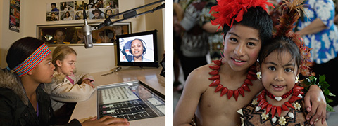 Image on left: Young visitors participate in a program inside the Goolarri radio studio exhibit. Image on right: Two young dancers wearing brightly coloured necklaces and feather headpieces.